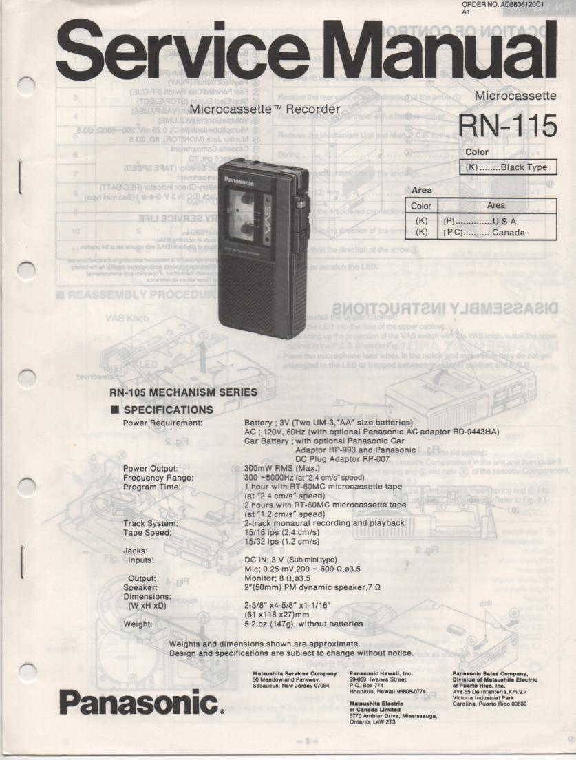 RN-115 Microcassette Deck Service Manual