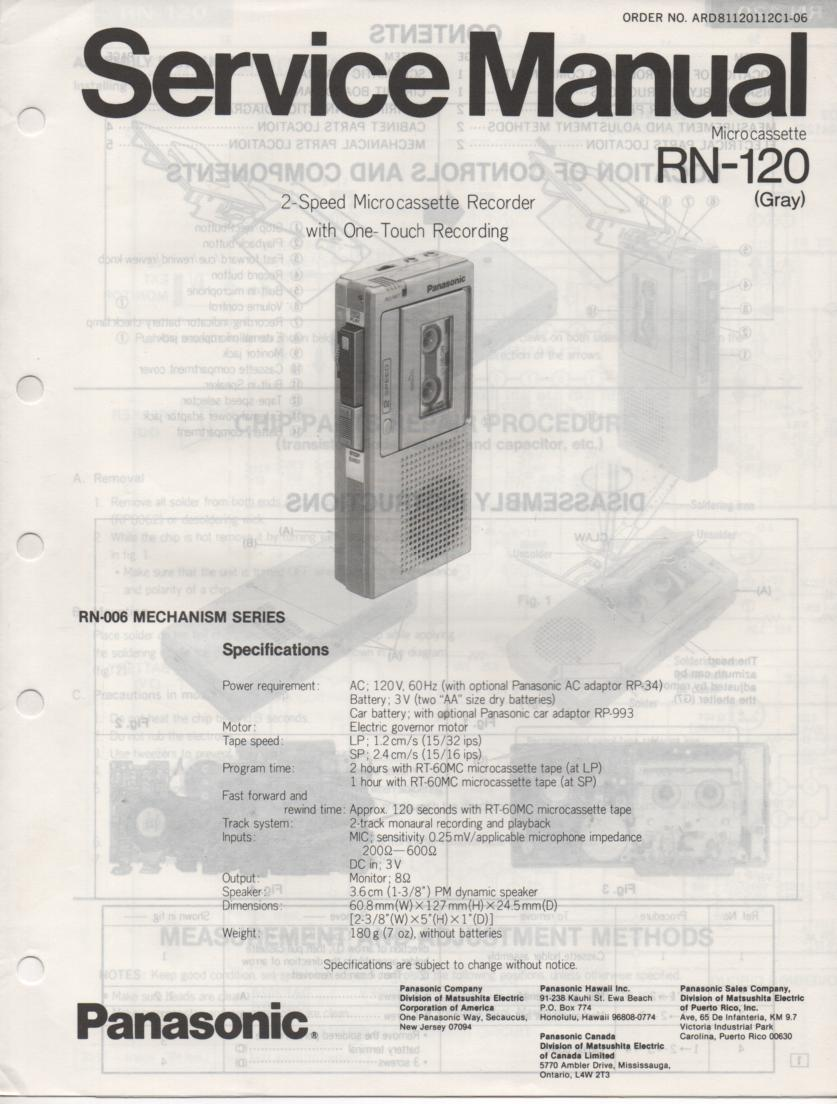 RN-120 Microcassette Deck Service Manual