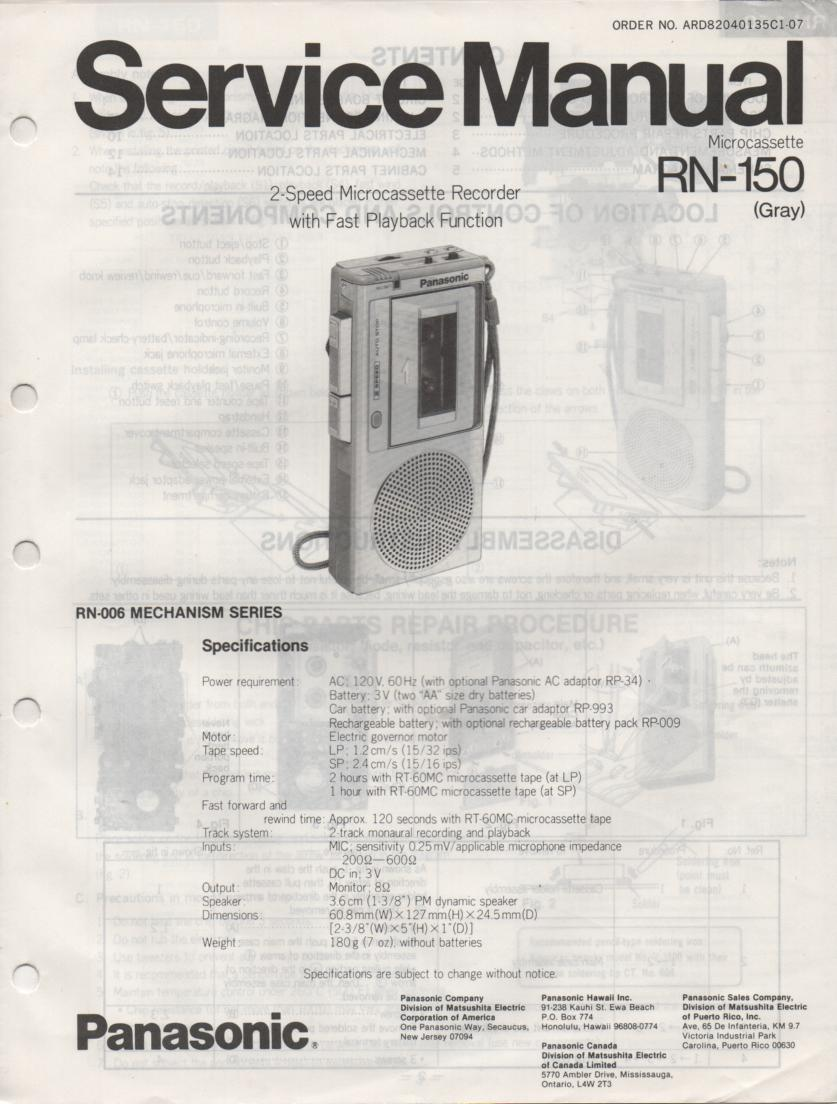 RN-150 Microcassette Deck Service Manual