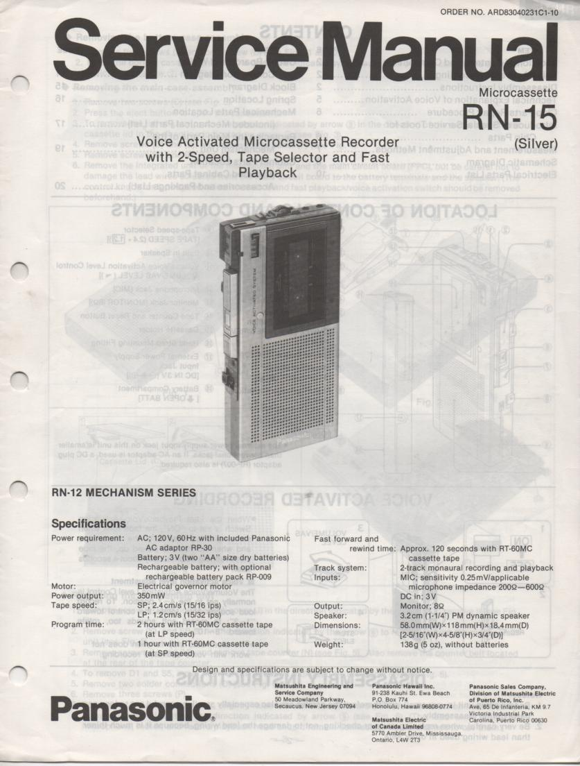 RN-15 Microcassette Deck Service Manual