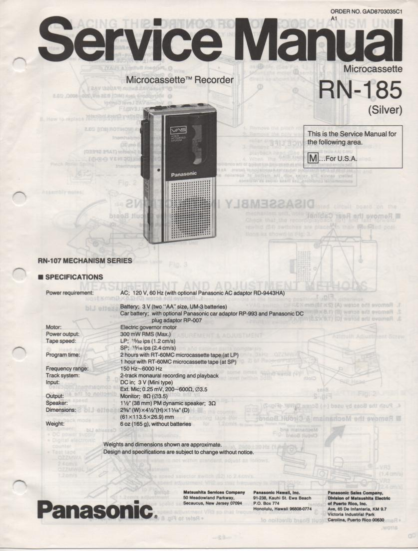 RN-185 Microcassette Deck Service Manual