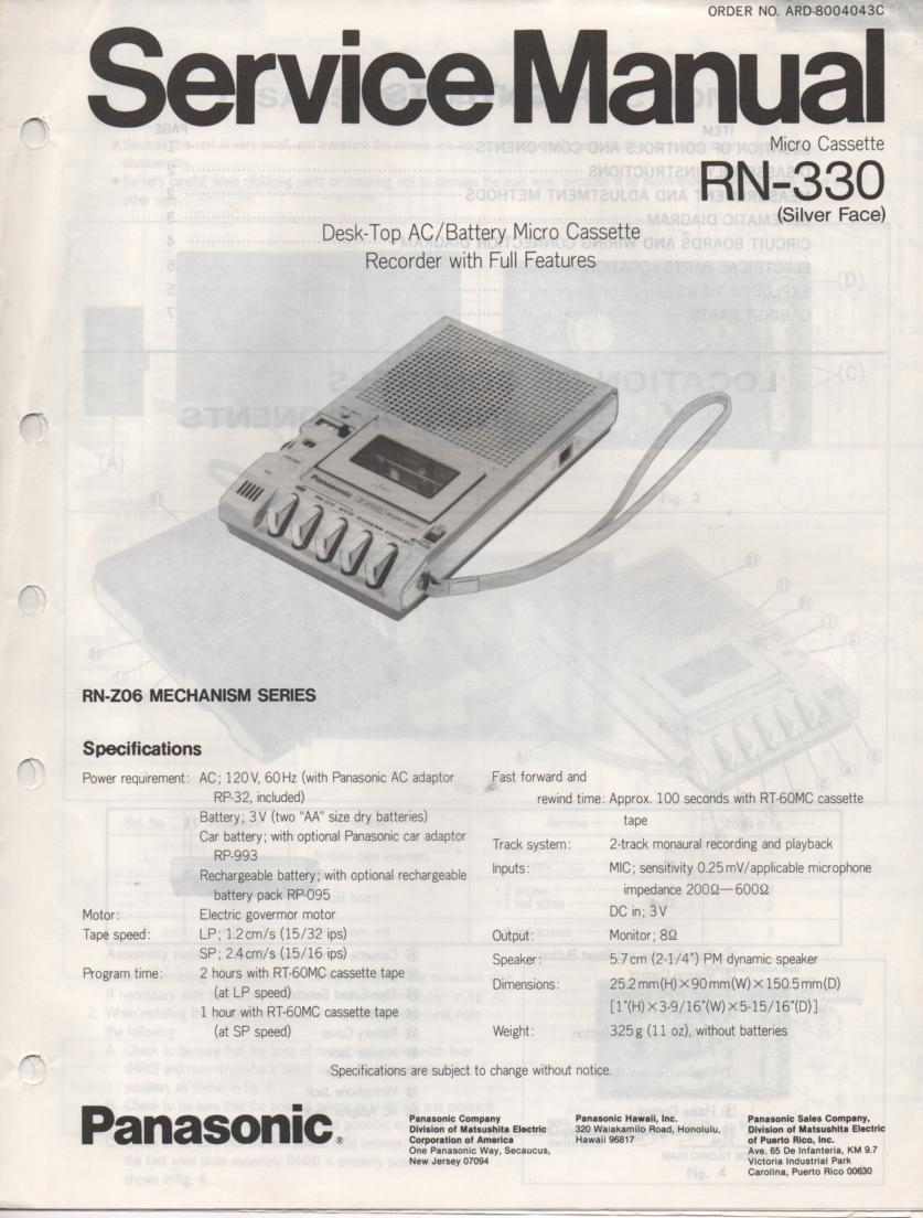 RN-330 Microcassette Deck Service Manual