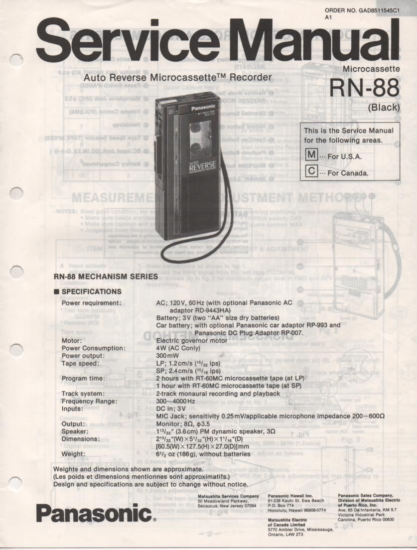 RN-88 Microcassette Deck Service Manual