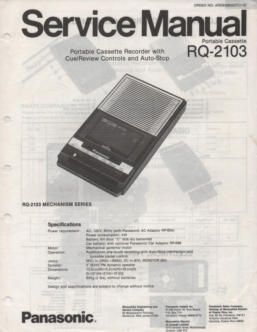 RQ-2103 Cassette Tape Recorder Service Manual