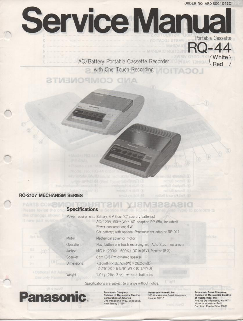 RQ-44 RQ-44A Portable Cassette Recorder Service Manual