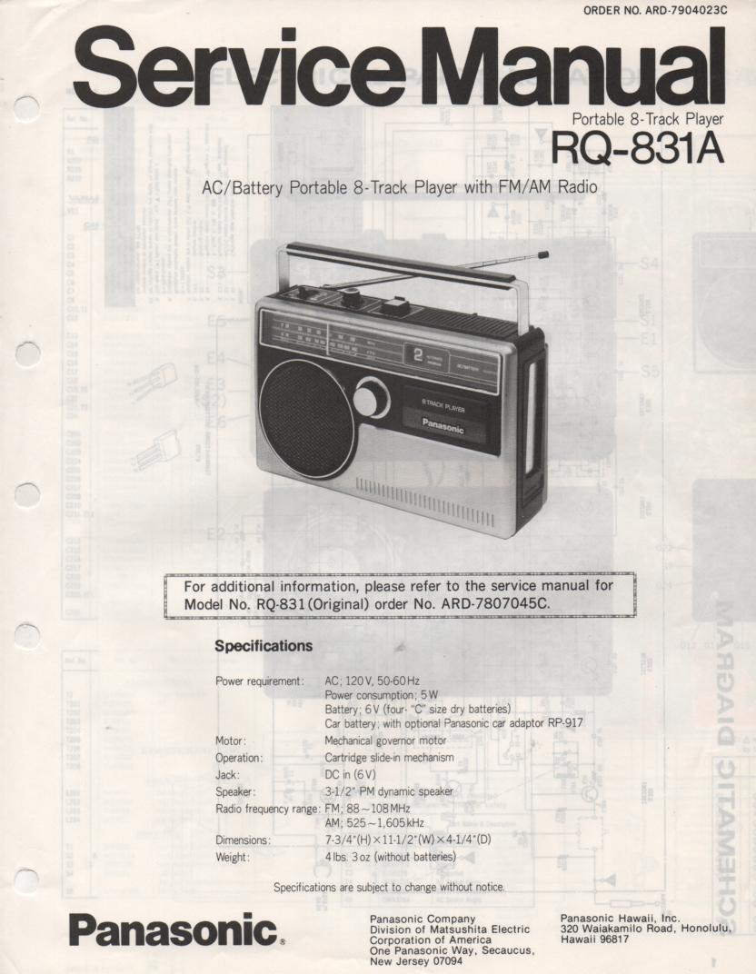 RQ-831A 8-Track Radio Service Manual