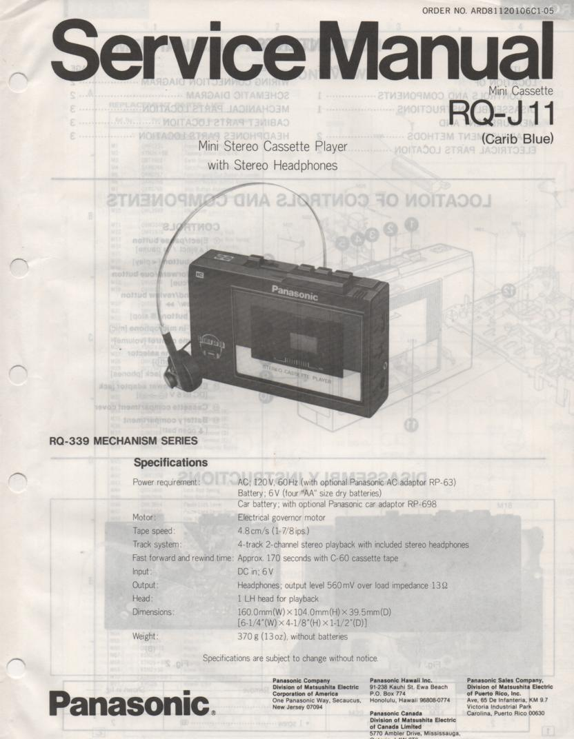 RQ-J11 Radio Cassette Player Service Manual