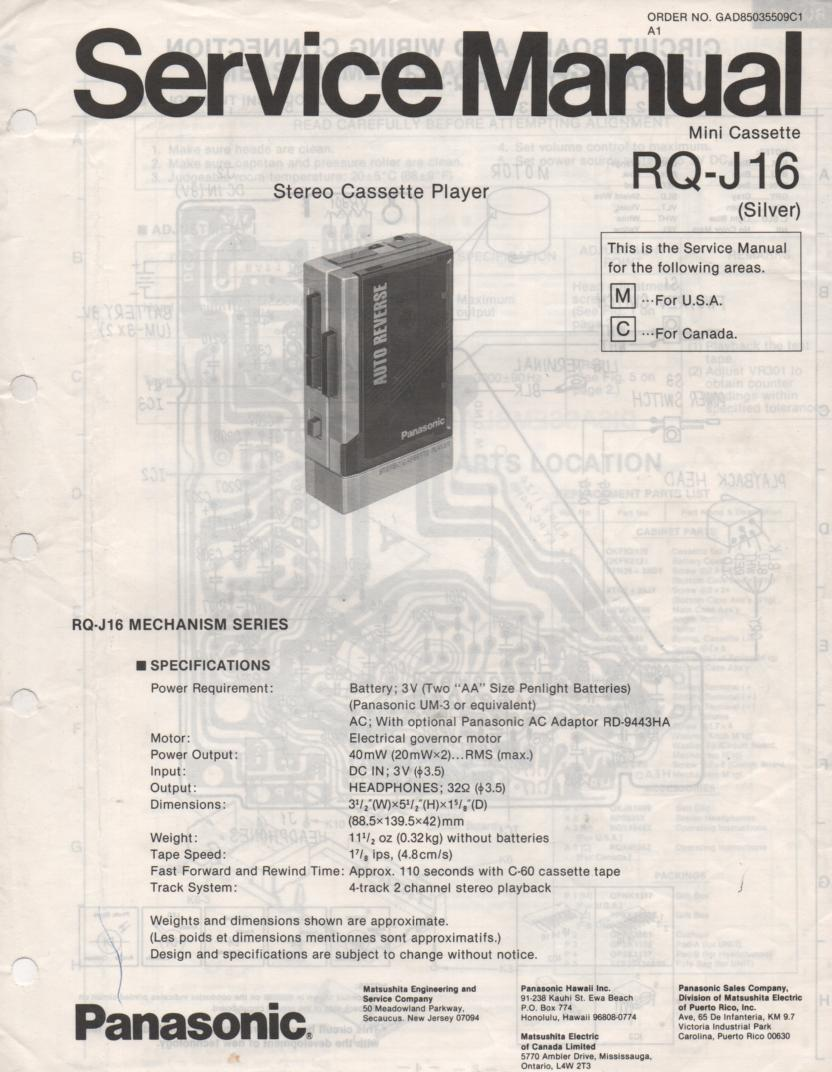 RQ-J16 Radio Cassette Player Service Manual