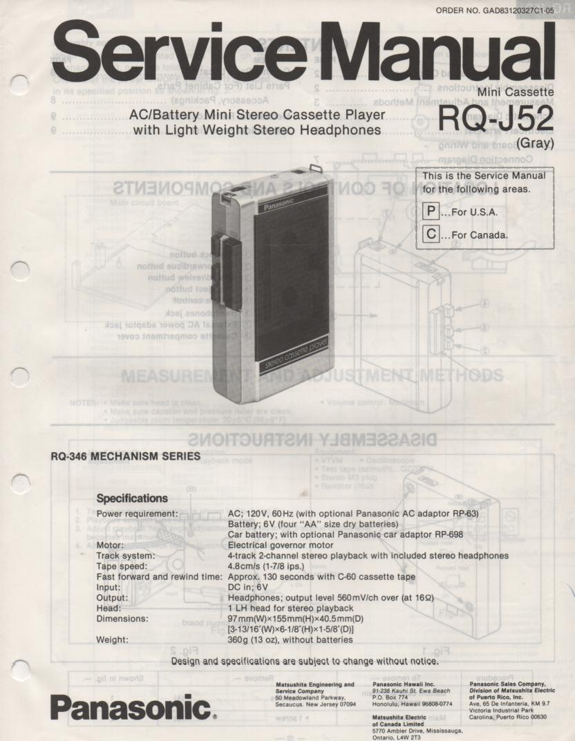 RQ-J52 Cassette Recorder Player Manual