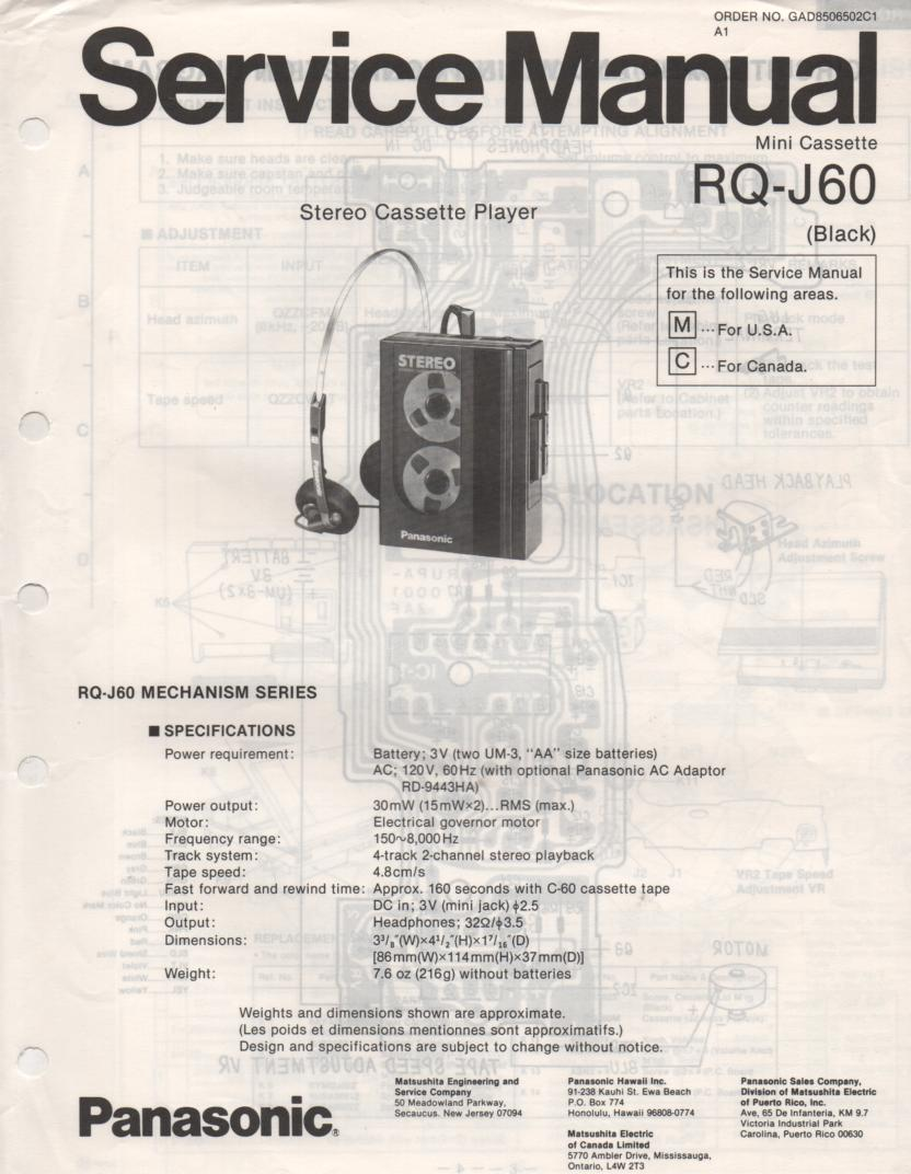 RQ-J60 Cassette Player Service Manual