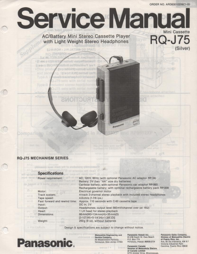 RQ-J75 Cassette Recorder Service Manual