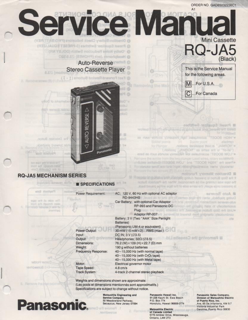 RQ-JA5 Mini Cassette Player Service Manual