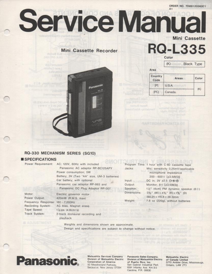 RQ-L335 Mini Cassette Recorder Service Manual
