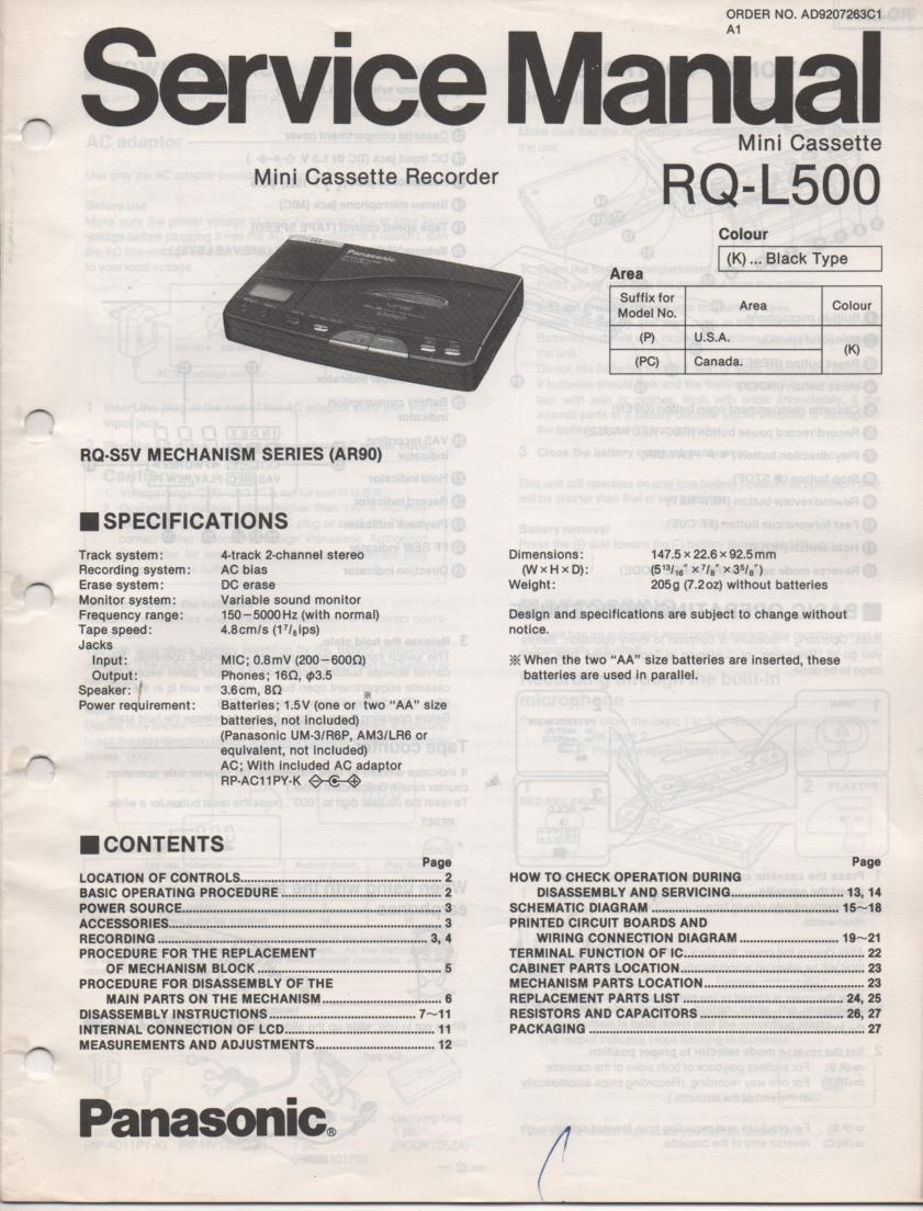 RQ-L500 Mini Cassette Recorder Service Manual
