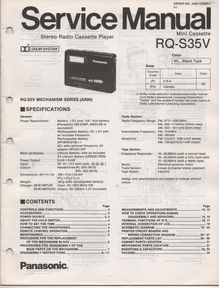 RQ-S35V Radio Mini Cassette Player Service Manual