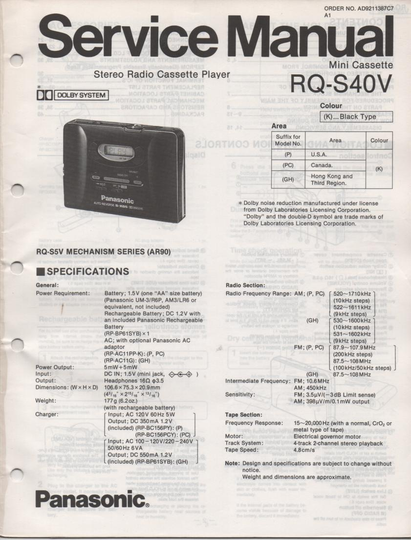 RQ-S40V Radio Mini Cassette Player Service Manual