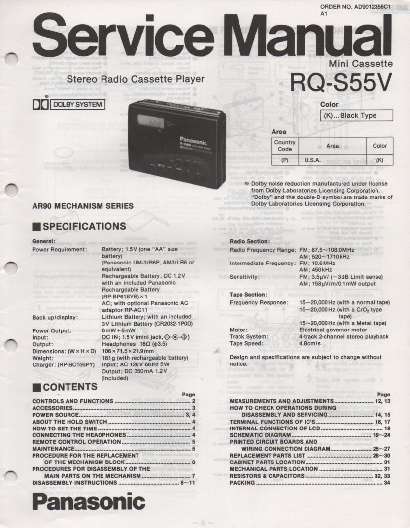 RQ-S55V Radio Mini Cassette Player Service Manual