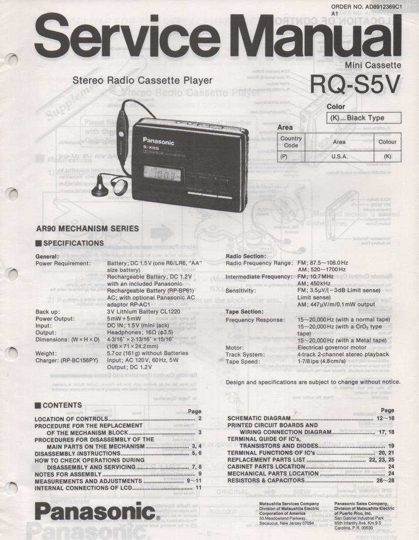 RQ-S5V Radio Mini Cassette Player Service Manual
