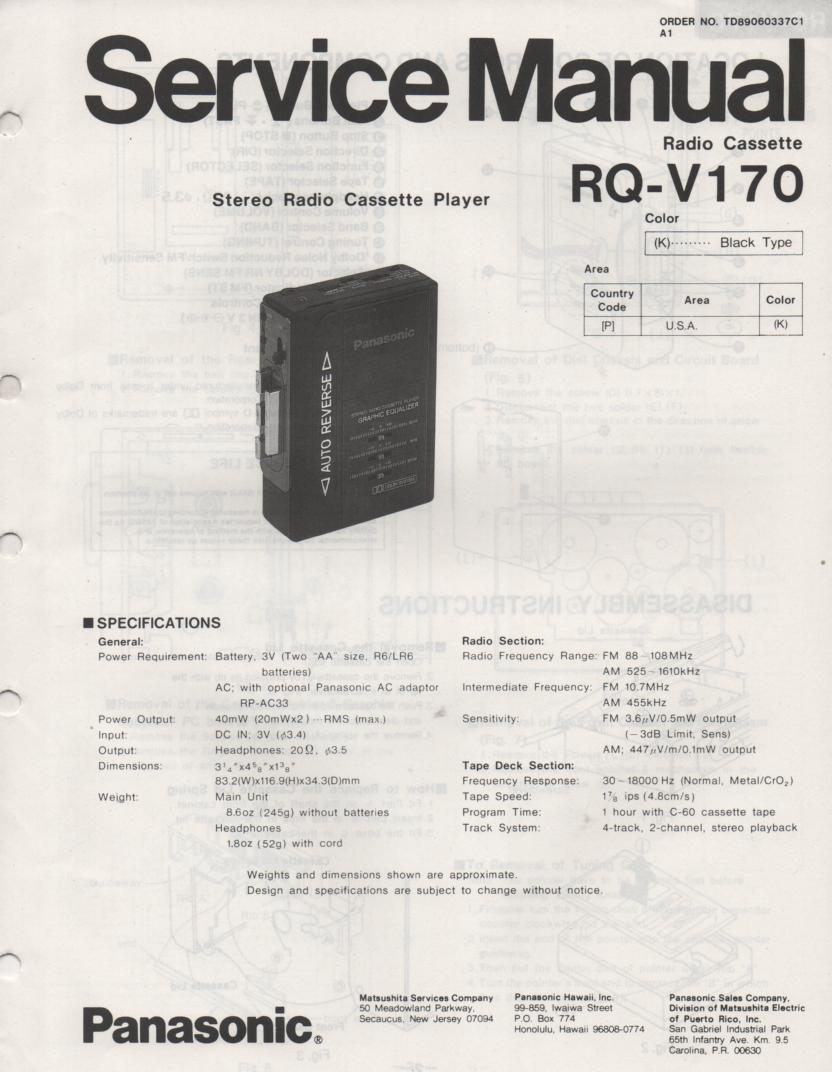 RQ-V170 Mini Cassette Player Radio Service Manual