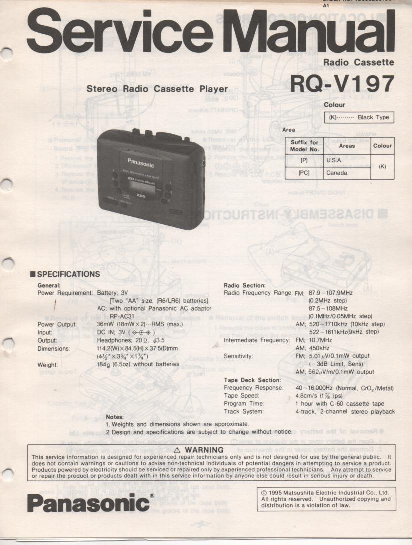 RQ-V197 Mini Cassette Player Radio Service Manual
