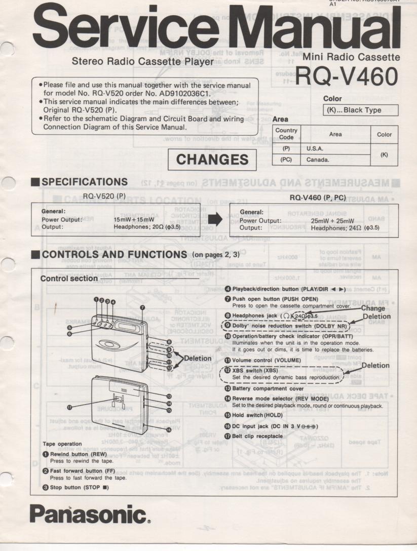 RQ-V460 Mini Cassette Player Radio Service Manual.. Use with RQ-V520