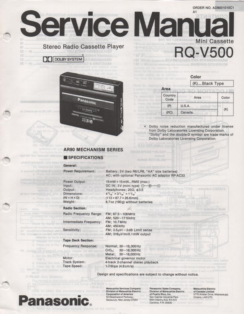 RQ-V500 Mini Cassette Player Radio Service Manual