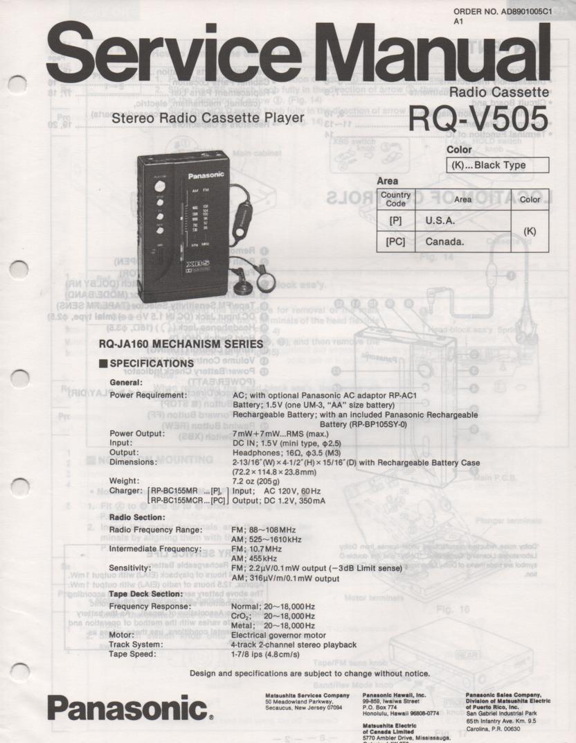 RQ-V505 Mini Cassette Player Radio Service Manual