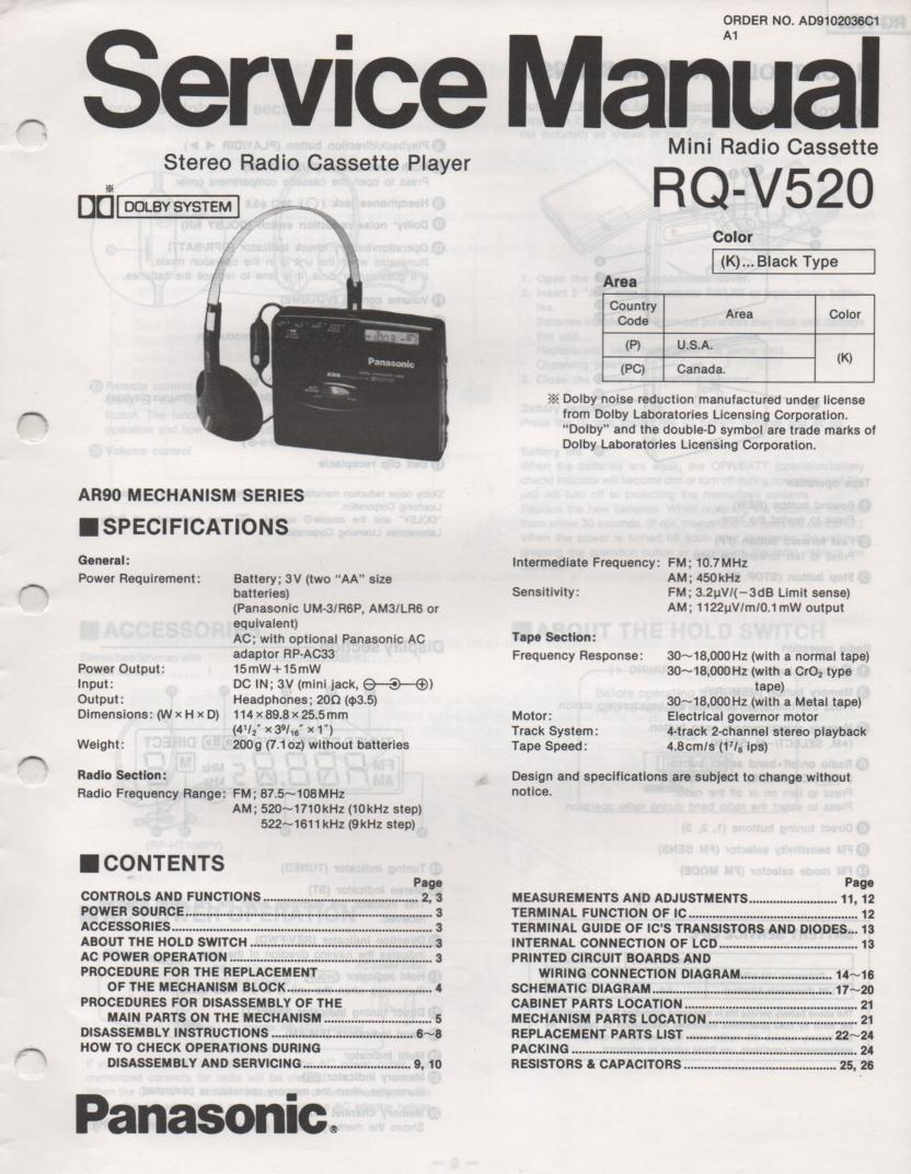 RQ-V520 Mini Cassette Player Radio Service Manual