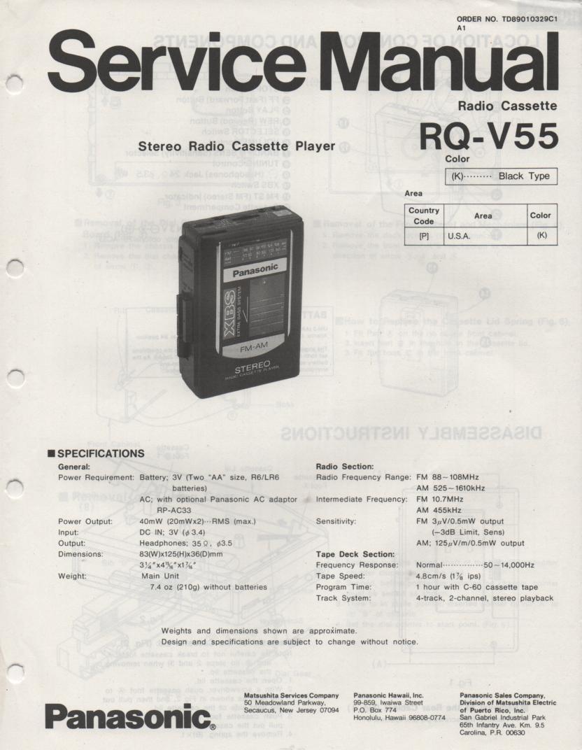 RQ-V55 Mini Cassette Player Radio Service Manual