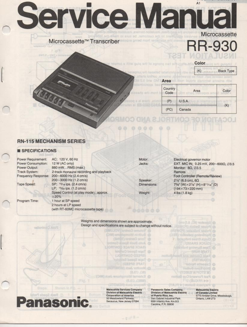 RR-930 Microcassette Transcriber Service Manual