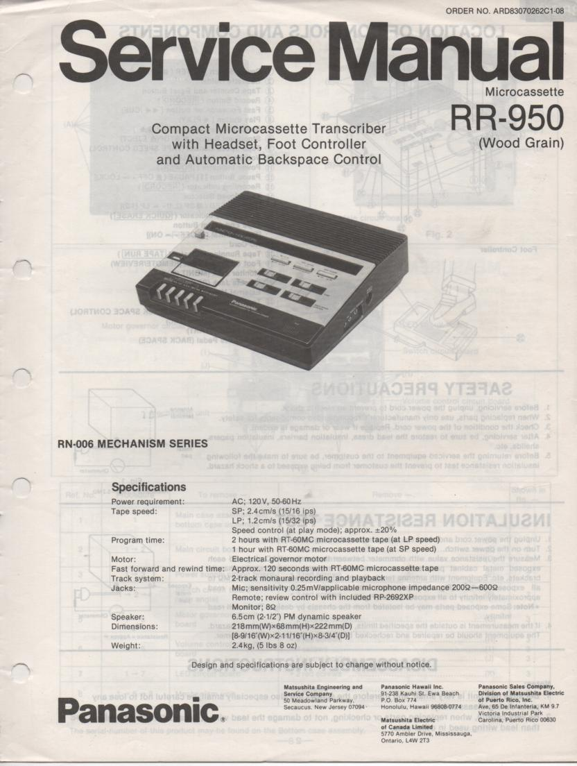 RR-950 Microcassette Transcriber Service Manual