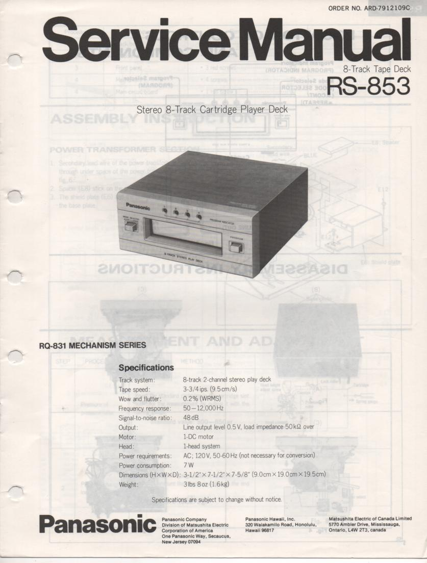 RS-853 8-Track Player Deck Service Manual