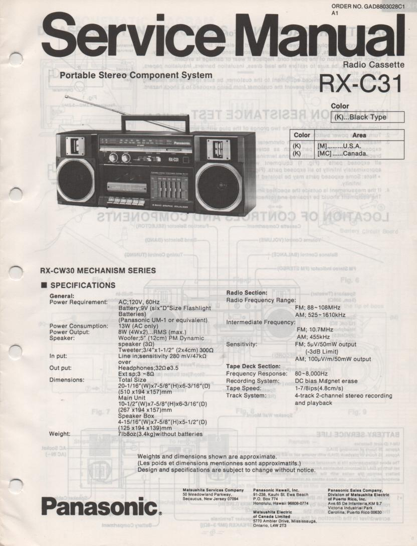RX-C31 Radio Cassette Service Manual