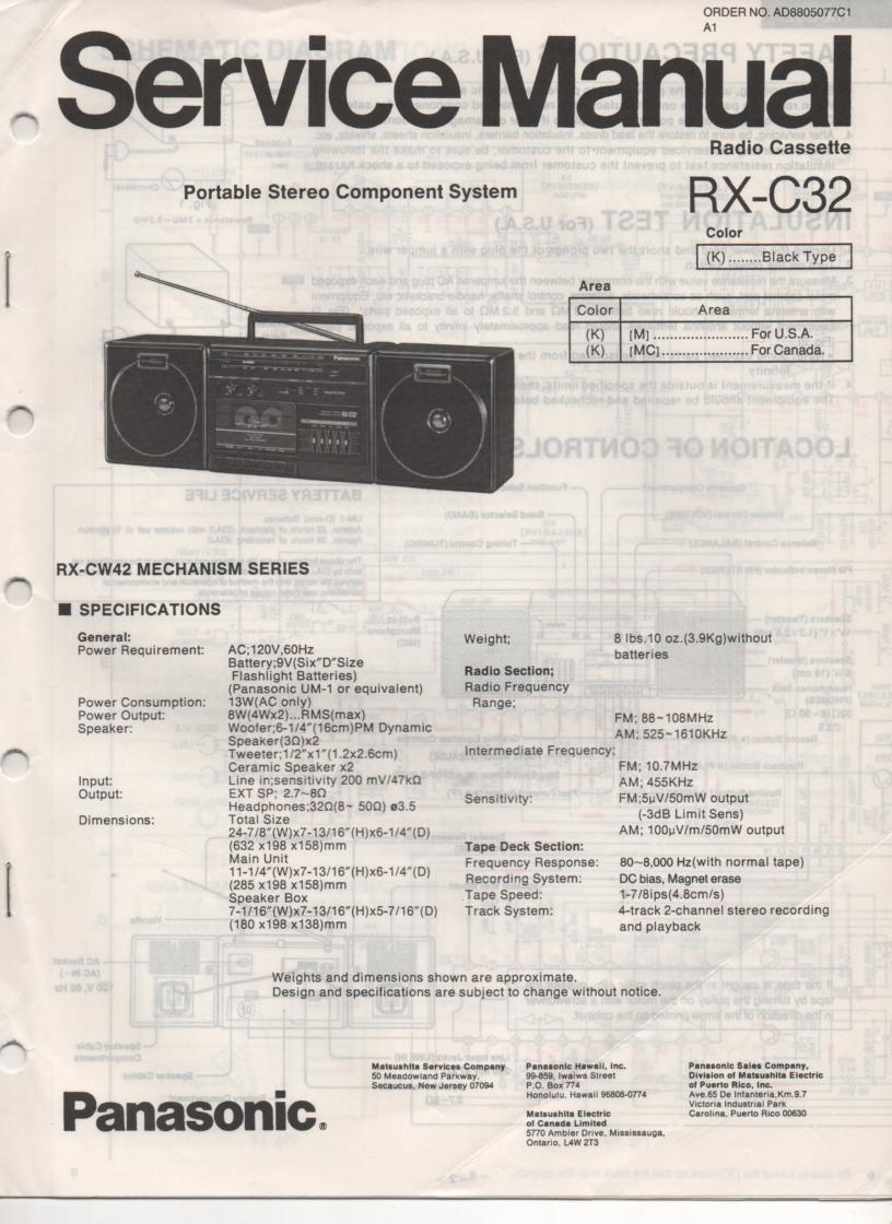 RX-C32 Radio Cassette Service Manual