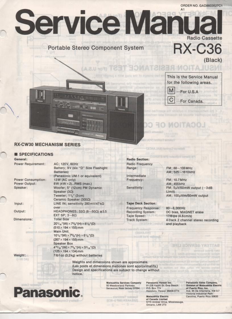 RX-C36 Radio Cassette Service Manual