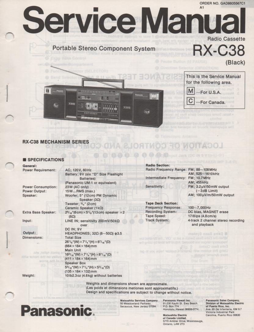 RX-C38 Radio Cassette Service Manual