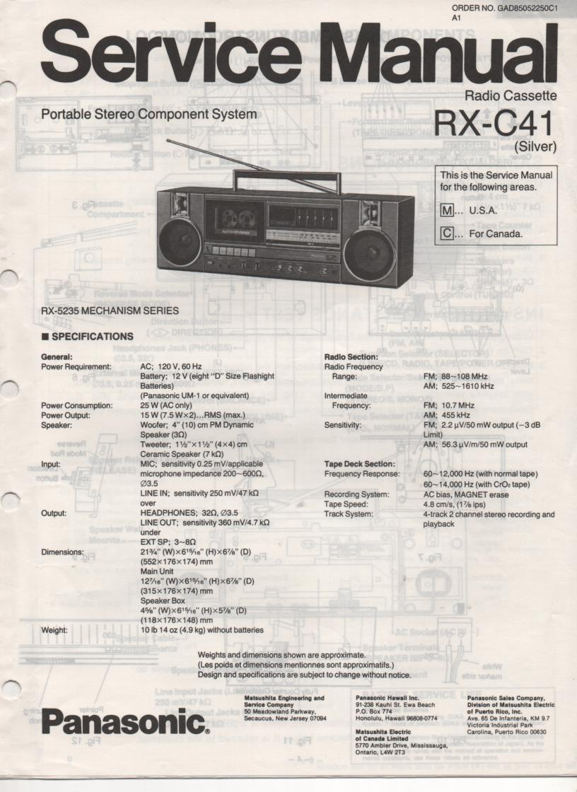 RX-C41 Radio Cassette Service Manual