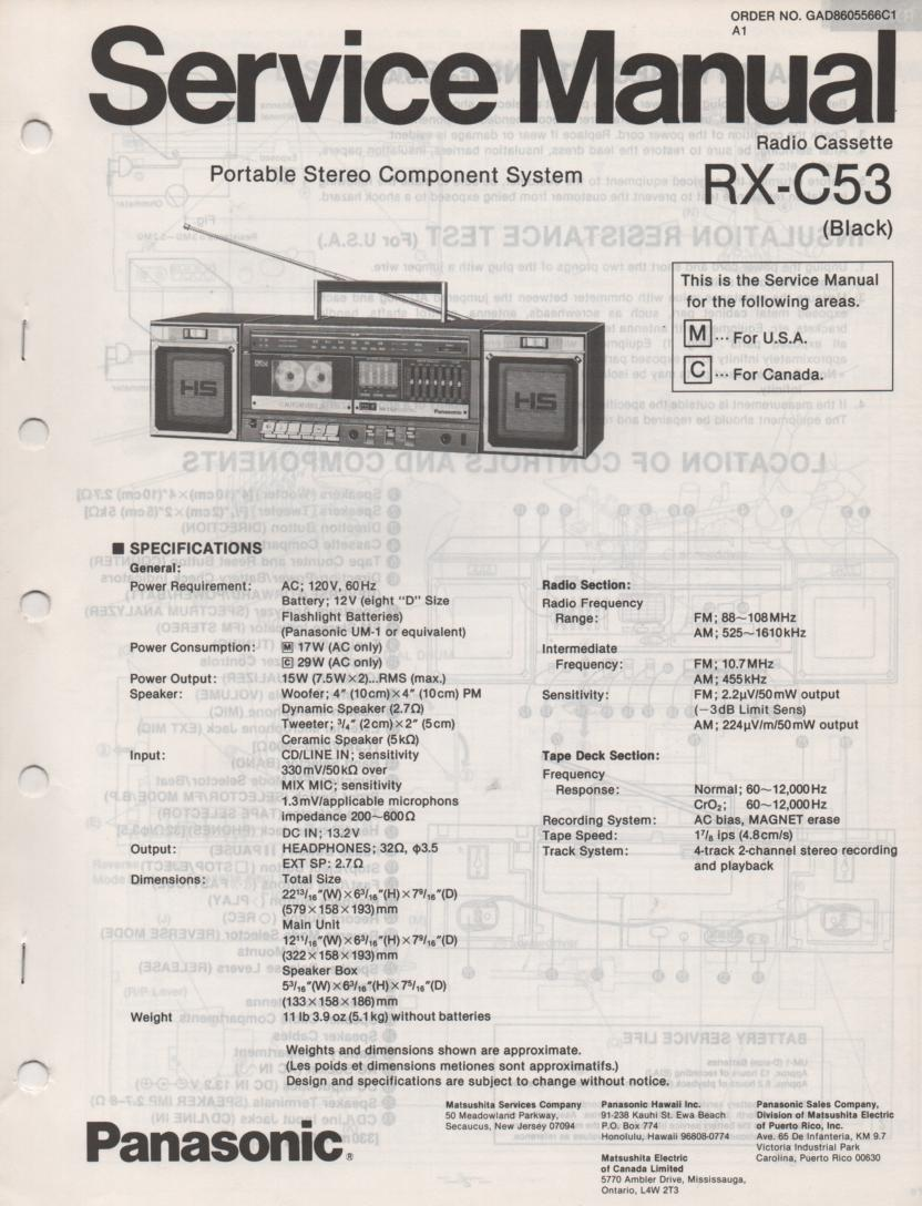 RX-C53 Radio Cassette Service Manual