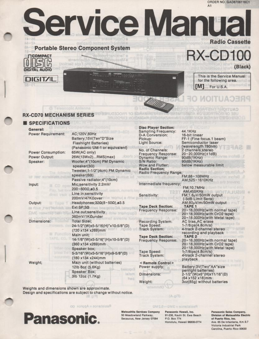 RX-CD100 CD Player Radio Cassette Service Manual