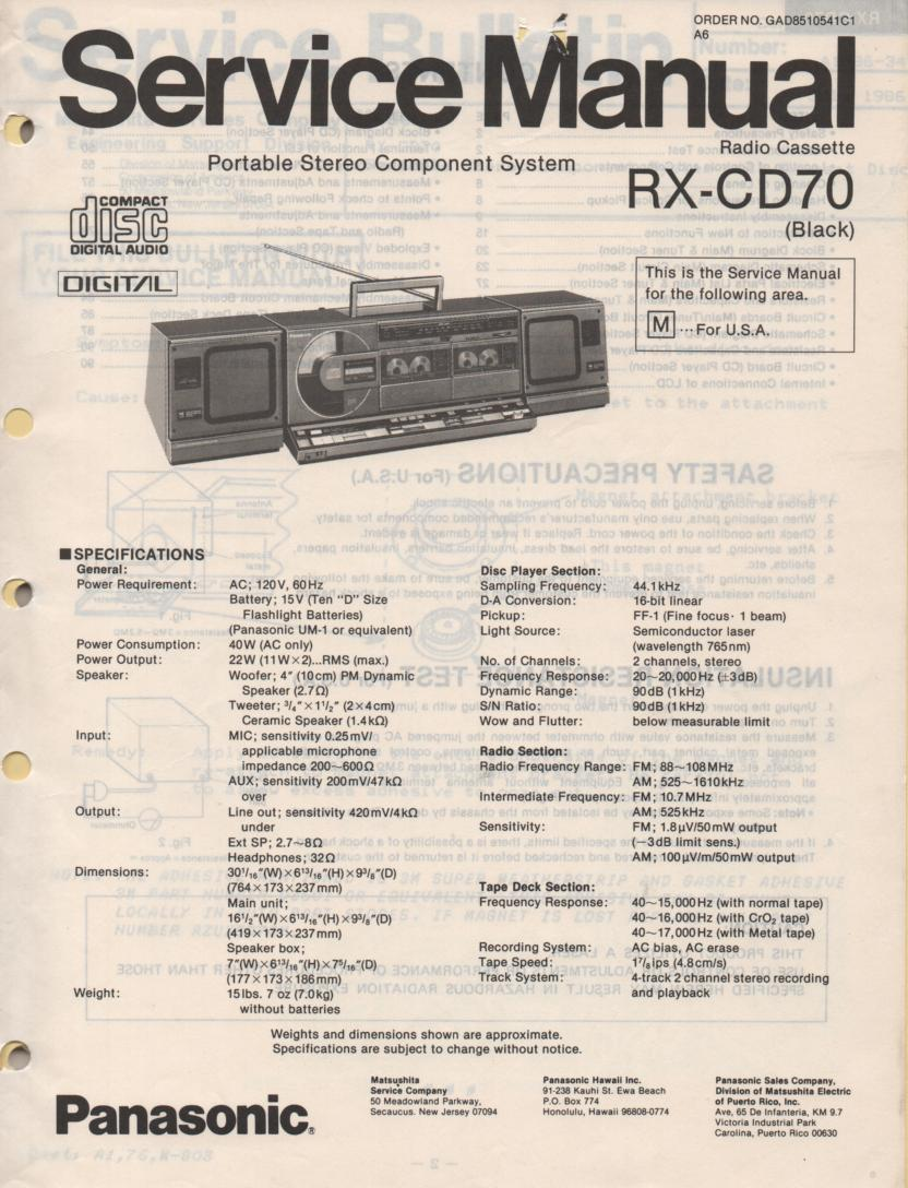 RX-CD70 CD Player Radio Cassette Service Manual