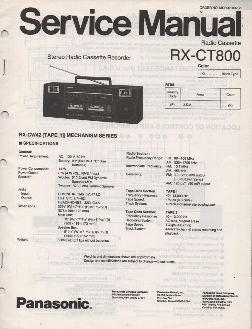 panasonic rx-ct800 service manual