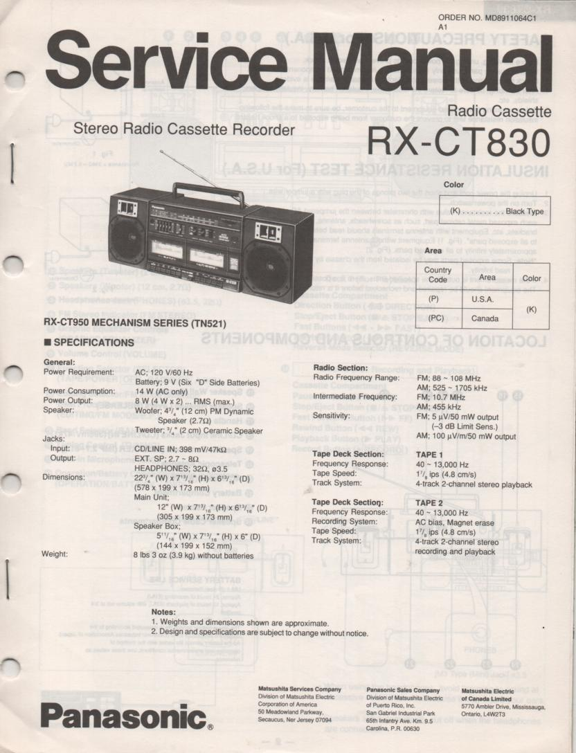 RX-CT830 Radio Cassette Service Manual
