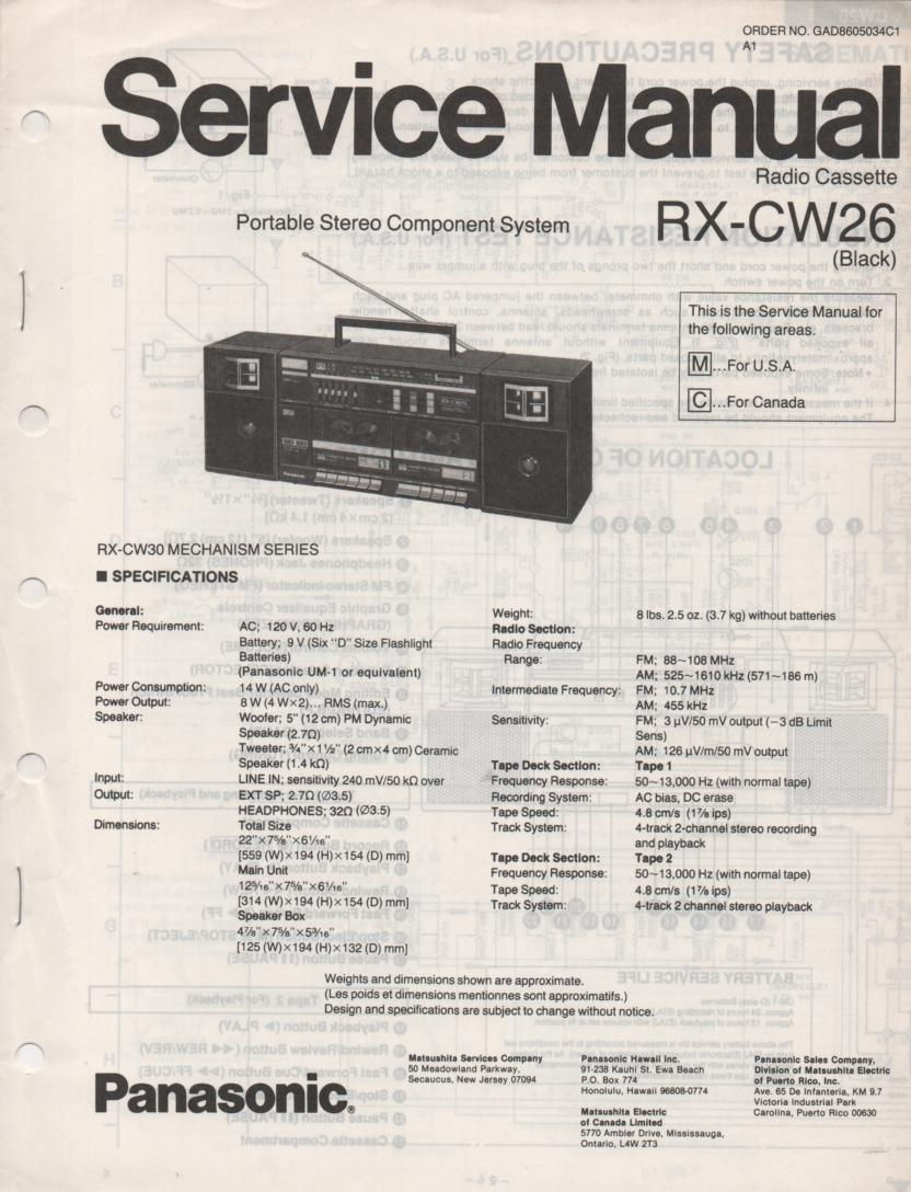 RX-CW26 Radio Cassette Service Manual