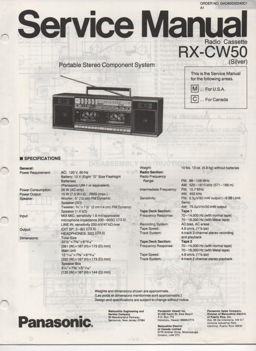 RX-CW50 Radio Cassette Service Manual