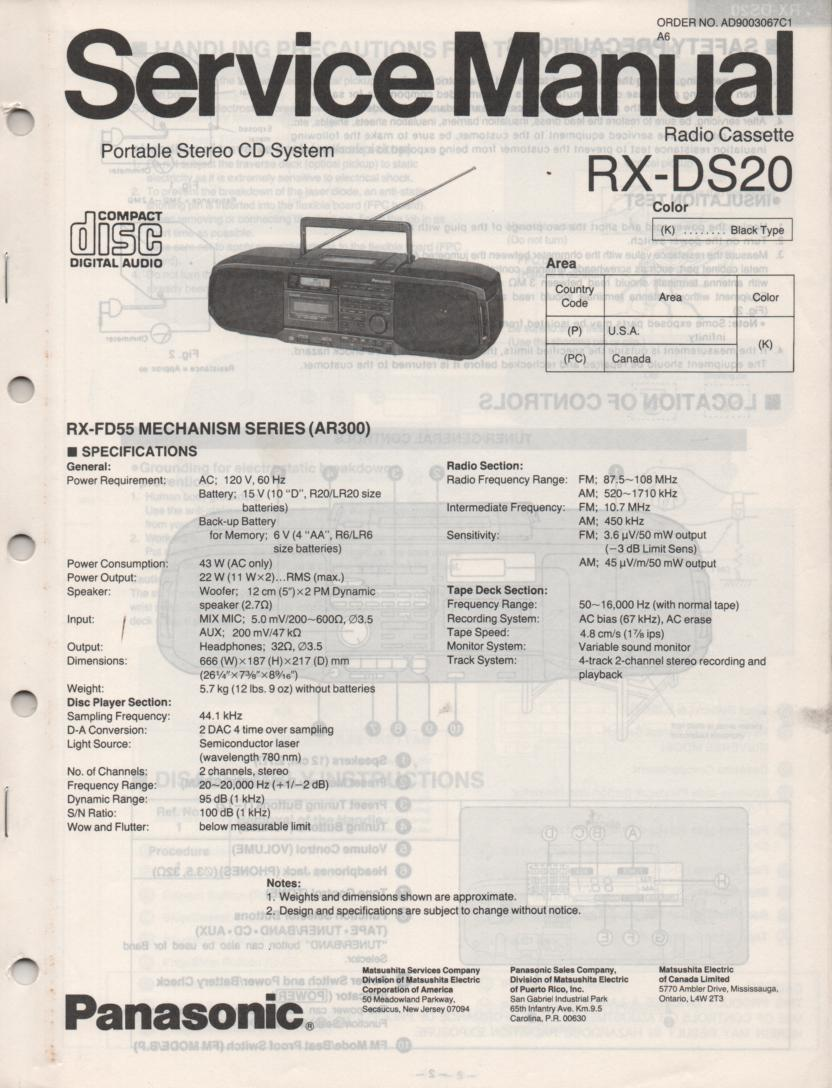 RX-DS20 AM FM CD Player Cassette Recorder Service Manual