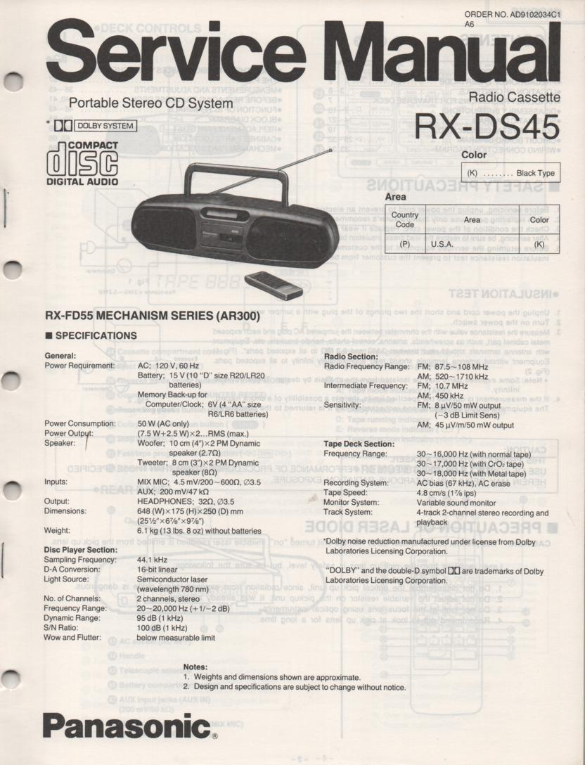 RX-DS45 AM FM CD Player Cassette Recorder Service Manual