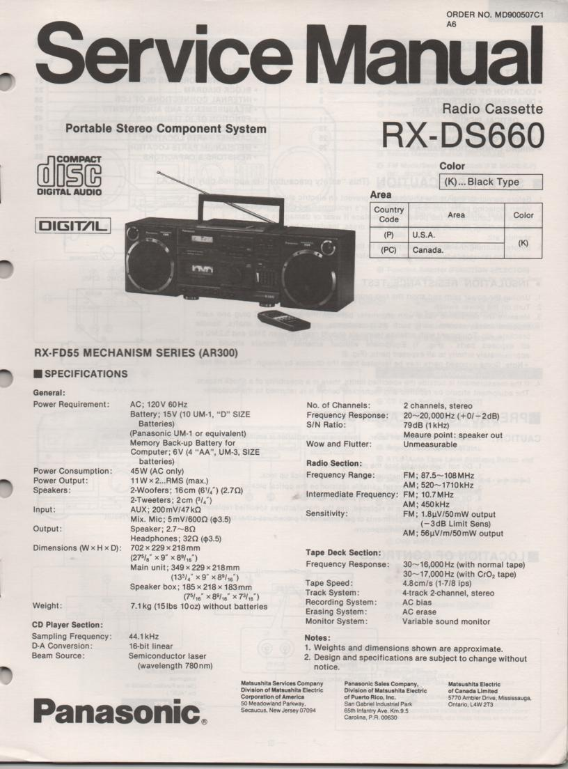 RX-DS660 AM FM CD Player Cassette Recorder Service Manual