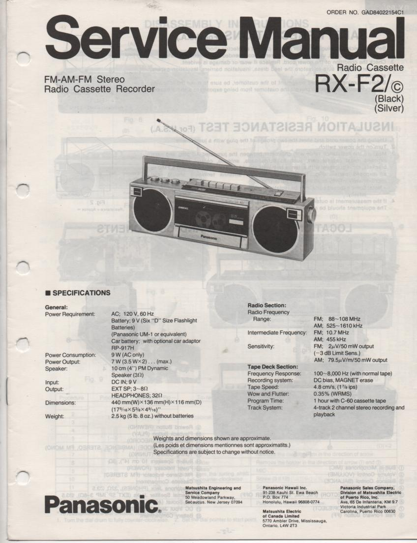 RX-F2 RX-F2C AM FM Cassette Recorder Service Manual