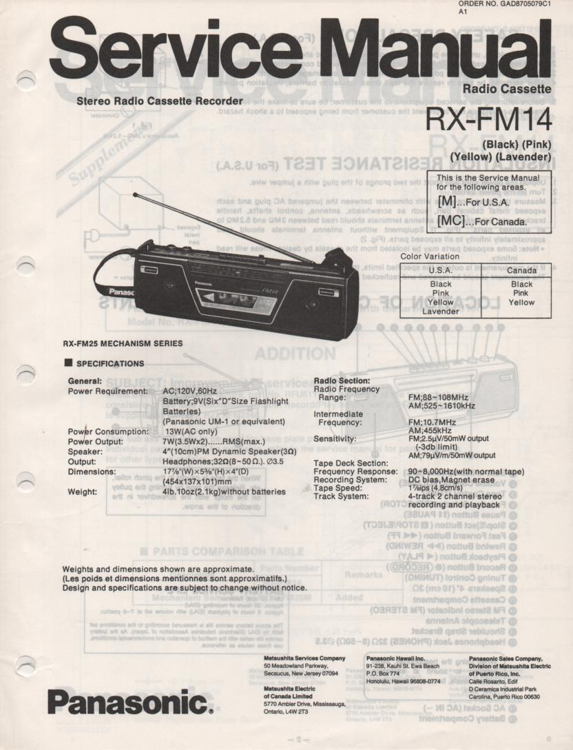 RX-FM14 AM FM Cassette Recorder Service Manual