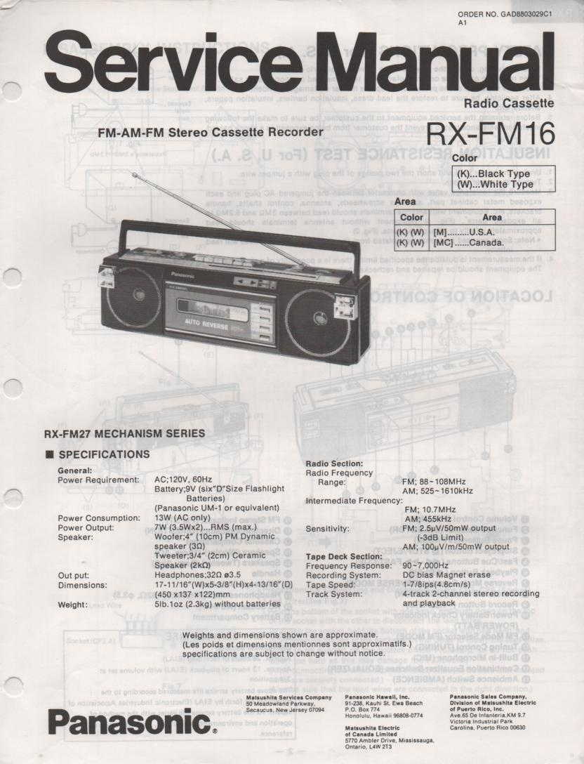 RX-FM16 AM FM Cassette Recorder Service Manual